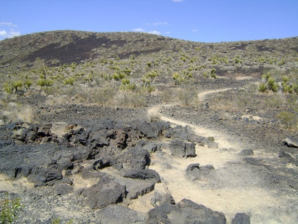 The Lava Tube Trail leaves the rough road and becomes a short footpath in a Wilderness area (no mechanized vehicles allowed)
