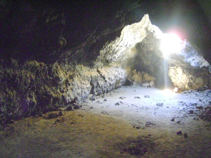 Another view with light pouring into the main room at the Lava Tube, Mojave National Preserve