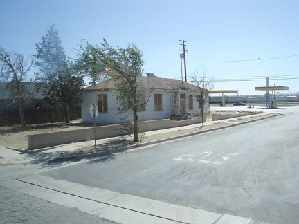 The Amtrak bus stops briefly at the town of Mojave, California