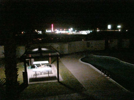 The motel pool below my balcony and Baker's skyline beyond