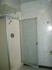 Shower stall in my room at the Royal Hawaiian Motel