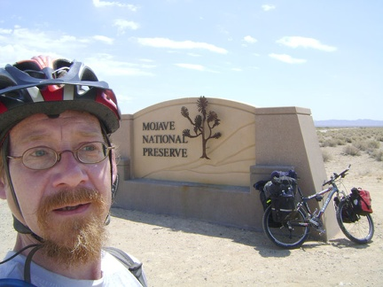 Obligatory tourist photo at the Mojave National Preserve entrance on Kelbaker Road