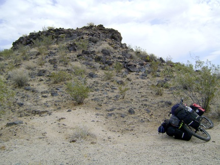 I park the 10-ton bike at the edge of the lava flow and go for a walk up the hill
