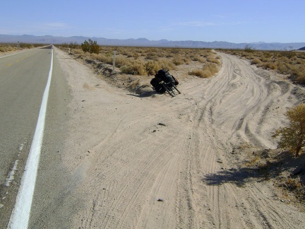 About a mile into Mojave National Preserve, I pass a sandy unpaved road (Old Kelso Road) that goes where I'm going today