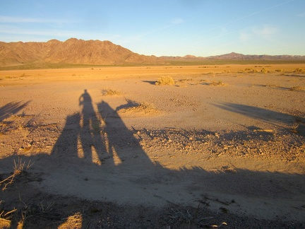 With sunset approaching in half an hour or so, I'm starting to cast nice long shadows on the edge of Broadwell Dry Lake