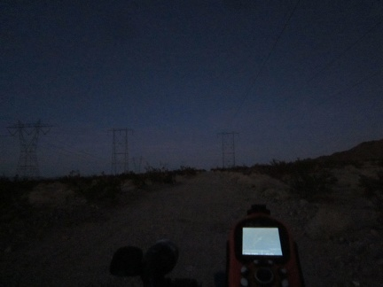 OK, it's getting dark for real; I'll ride a couple more miles on the powerline road while looking for a campsite