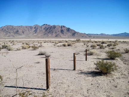 Several old fence posts here delineate the JHJ claim near Broadwell Dry Lake