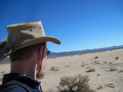 I arrive on the shores of Broadwell Dry Lake and begin the hike across the lake