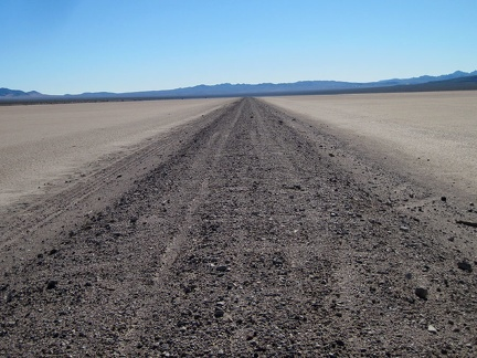 Running down the middle of Broadwell Dry Lake is the remains of the former Tonopah & Tidewater Railroad bed