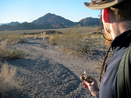 "Beyond ""The Gate,"" I begin the hike down the fan toward Broadwell Dry Lake"