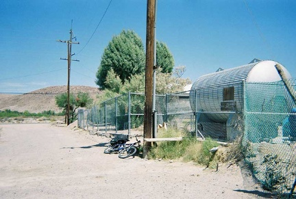 During my ride to China Ranch date farm, I stop at the public water tank behind Tecopa School to refill my my water bottles