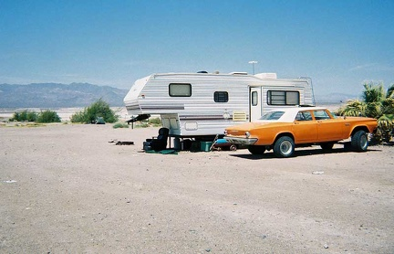 An old car and trailer near my camp site at Tecopa Hot Springs Campground