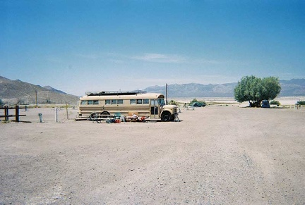 An old bus converted to camper at Tecopa Hot Springs Campground
