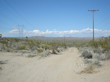 While at the Kelbaker Road summit, I take a look at the power-line road which I could have taken to get here from Cima Road