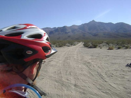 I mount the bike and ride the 1/4-mile shortcut at the end of Kelso Dunes Road to the nearby power-line road