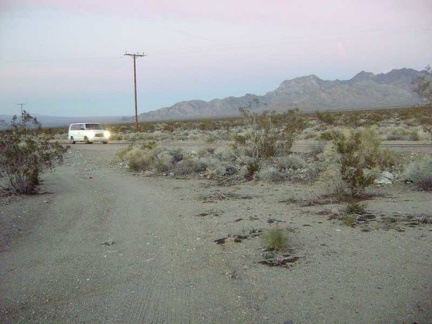 "My dirt road from Coyote Springs ends at dusk when I reach the Kelbaker Road ""highway"""