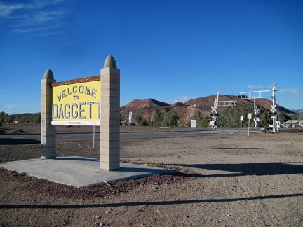 "I reach the official ""Welcome to Daggett"" sign and decide to pull in for a quick tour of the small, historic town"