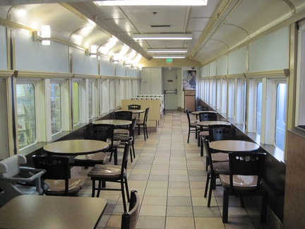 Barstow Station: I enjoy an early lunch in one of the refurbished train cars while waiting for the Amtrak bus