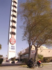 "Baker's ""world's tallest thermometer"" says that it's 50 degrees F this morning"