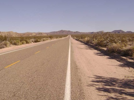 The first ten miles of Kelbaker Road into Mojave National Preserve out of Baker looks flat, but it actually climbs 1000 feet
