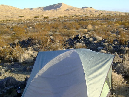 Sunny skies this morning, but raindrops from last night's thunderstorm glisten on the roof of my tent