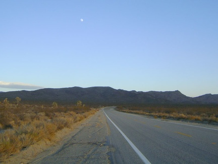 As I get closer to the Kelbaker Road summit, the moon rises behind me