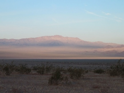 The distant flat of Broadwell Dry Lake and the Cady Mountains beyond get a lot of my attention as I peck at my breakfast
