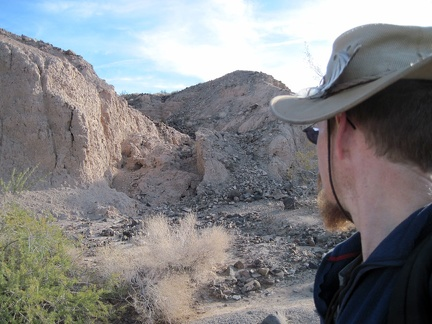 "I hike through an area of heavy erosion in ""South Broadwell Wash"" west of Broadwell Mesa"