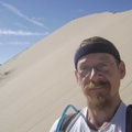 Approaching the top of Kelso Dunes, this final stretch is the steepest part