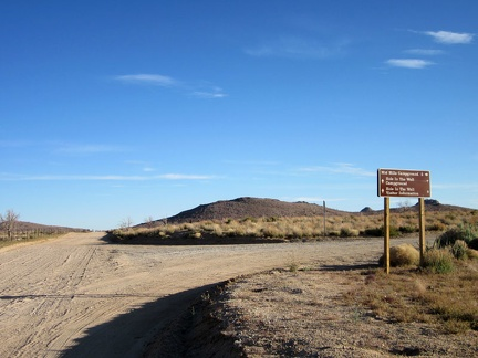 At the junction of Black Canyon Road and Wild Horse Canyon Road, I decide to turn right toward Mid Hills campground