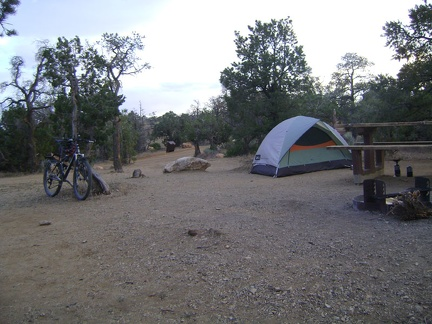 Back at Mid Hills campground, 7.5 hours after starting today's hike, I settle in for my sixth and last night here