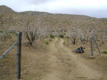 After a few miles, I turn at Macedonia Canyon Road and pass through the flimsy barbed-wire gate