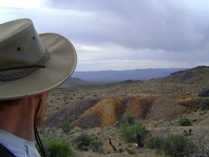 A final glance at the orange tailings pile near Columbia Mine, Macedonia Canyon