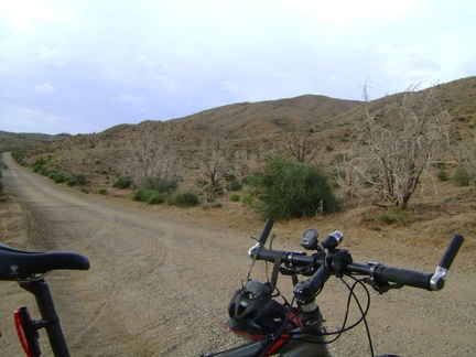 A quick 270-degree turn of the bike and I'm on Wild Horse Canyon Road again and on my way back to Mid Hills campground