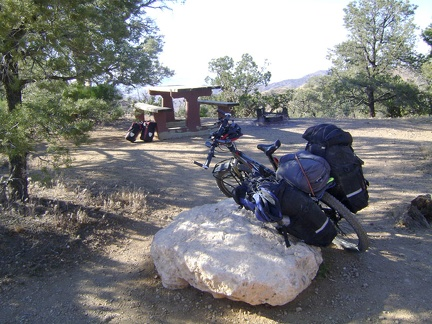I ride through Mid Hills campground, Mojave National Preserve, and select site 22, where I've camped previously