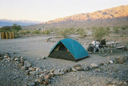 The tent is now set up at Emigrant Campground and the ten-ton bike relieved of its load
