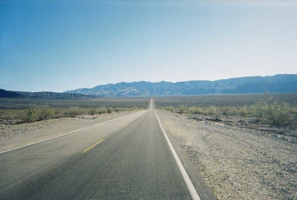 Heading up Highway 190 toward Emigrant Campground from Stovepipe Wells