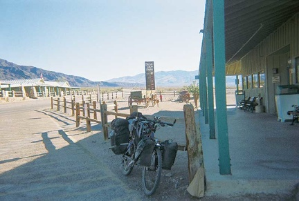 The ten-ton bike takes a rest at the Stovepipe Wells general store