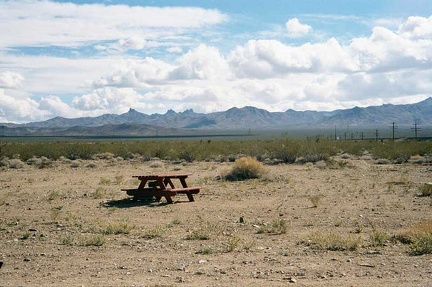 Picnic table behind the Nipton campground