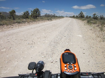 Ivanpah Road is wide and gravelly