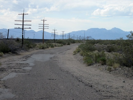I'm back on the train-track road, but this time a few miles of it are paved, and called Nipton-Desert Road