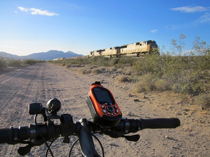 It's always fun when a train passes by while riding these trackside roads in the Mojave Desert