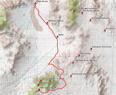 Pinto Valley to Primm, Nevada bicycle route via Ivanpah Road