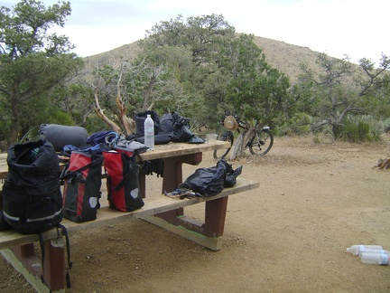 Almost everything I brought with me ends up on the picnic table, and then squeezed into my saddlebags