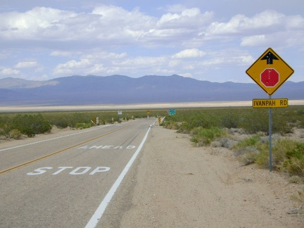 The amazing 11.5-mile downhill on Morning Star Mine Road abruptly ends at a T-intersection and stop sign at Ivanpah Road