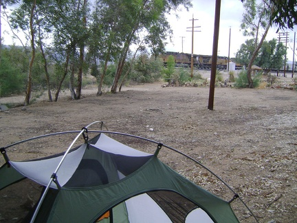 While setting up my tent under the eucalyptus trees just south of the Nipton store, a train rushes past