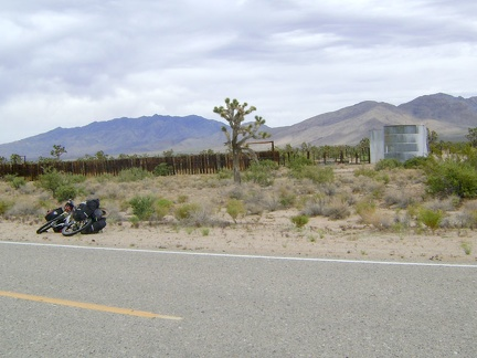 On the way down the Cima Road hill, I stop at an old corral and water tank