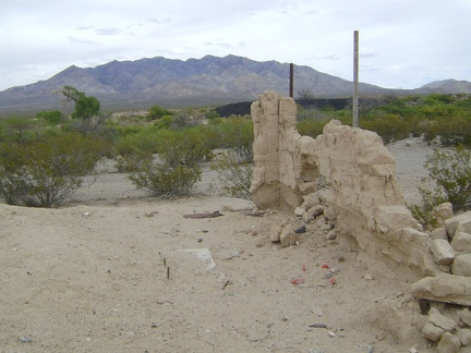 I stop at the old Valley Wells town site to check out the final remnants of the wall of a mud-brick building