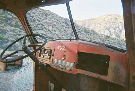 The dashboard inside the old truck at Goldbelt Spring