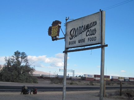 While riding through Daggett, I stop to check out the old sign for the now-defunct Sportsmans Club
